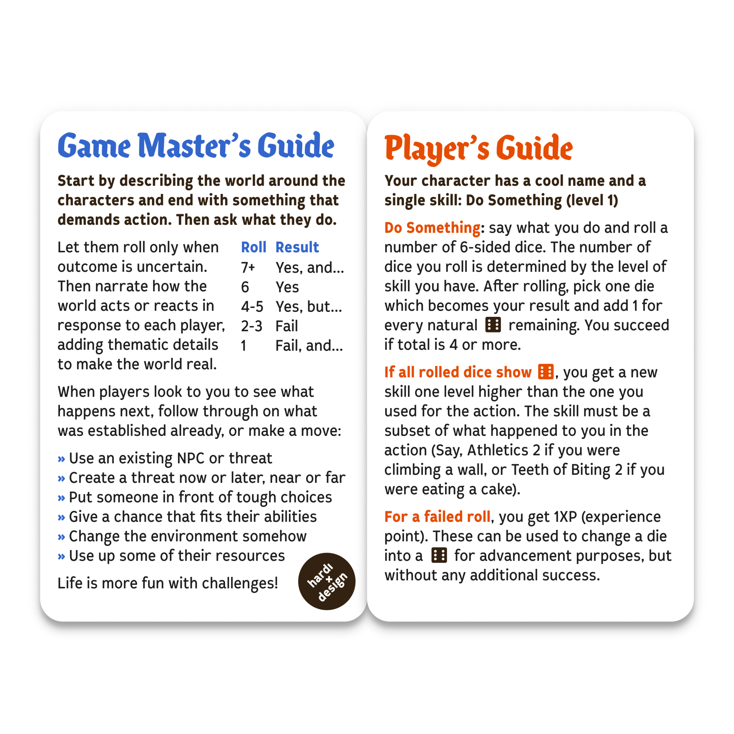 Role-playing game on a single card